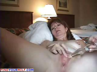 Horny mature wife anal masturbating