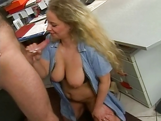 Blowjob Mature Office SaggyTits
