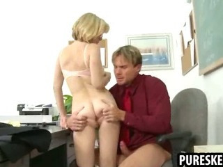 Blonde schoolgirl in glasses gets fucked firm