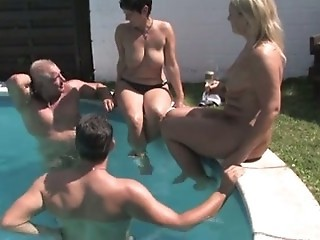 Chubby European German Groupsex Mature Outdoor Pool Swingers