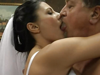 Bride Daddy Kissing MILF