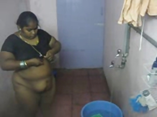 BBW  Indian Maid Showers Voyeur
