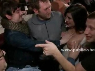 Amazing brunette with perfect big tits naked in club used..