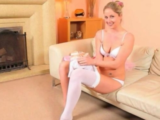 Sexy mom in white pantyhose undress