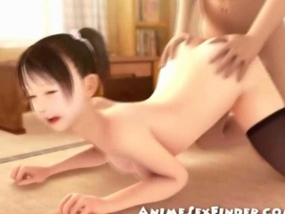 3D Tiny Asian Gets Creampied