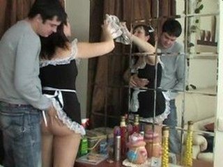 Guy seduces careful maid