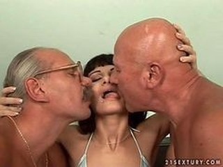 Sexy Teen Girl Fucking With Two Grandpas