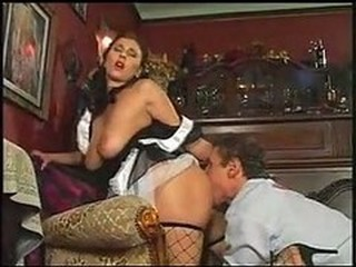 Fishnet Licking Maid MILF Natural Uniform