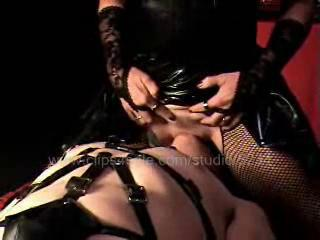 Sexual Beast In Leather Costume Makes His Sexual Slave Weep With Pleasure