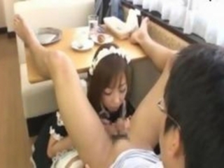 Japanese Cafe Maid Sucks Cock