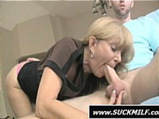 Blonde mom does a great job of blowing this guy in POV style
