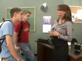 Glasses MILF Student Teacher Threesome