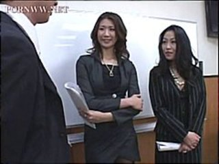 Horny office bitches gang up on their boss to punish and humiliate him
