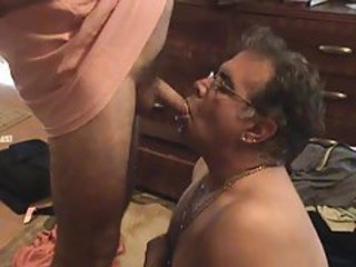 Guy drinking piss from a soft cock tubes