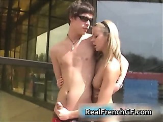 French Handjob Public Teen