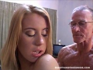 Cute blondie taking care of senior