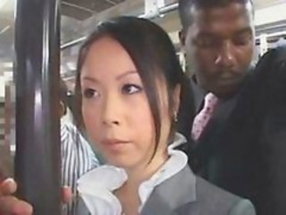 Officelady banged by gigantic black in a train