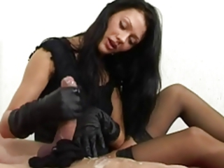 Amazing Big cock Brunette CFNM Cumshot Cute Handjob MILF Stockings