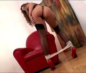 Ava Blue blonde woman in stockings