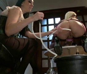 Girl in Sexy Lingerie gets an Enema and Ass Shaved