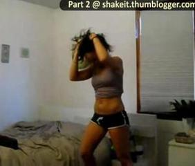Hot latina dancing in black shorts