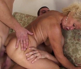 Hairy Grandma Takes It In Both Holes