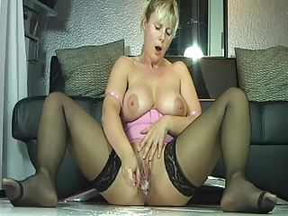 Masturbating MILF Orgasm Stockings Toy