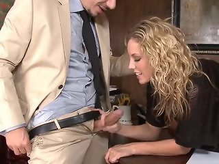 Babe Big cock Blonde Clothed Cute Handjob Office