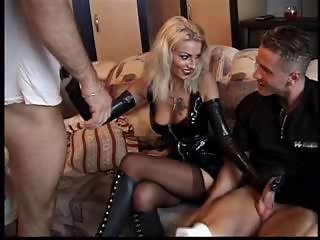 Cute Handjob Latex MILF Stockings Tattoo Threesome