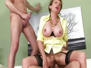 European Mature Riding Stockings Threesome