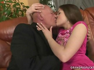 Daddy Daughter Kissing Old and Young Teen