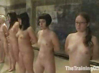 Group of Six Slaves BDSM Training in Submission