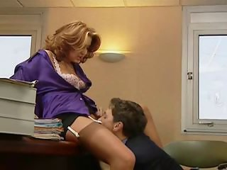 Clothed Licking MILF Office Secretary Stockings