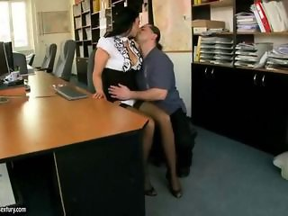 Hot secretary getting her ass rammed