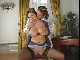 Amazing Big Tits Chubby MILF Natural Secretary Stockings