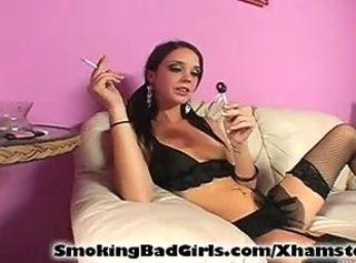 Amazing Lingerie Smoking Stockings Teen