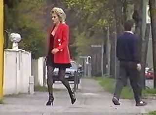European French MILF Outdoor Public Stockings