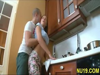 Cute young teen sister taboo sex with older brother in kitch
