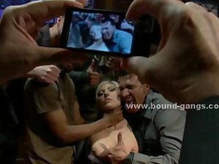 Blonde force to fuck bar mates in deep rough mouth fuck and group anal sex