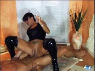 Latex MILF Riding Smoking Tattoo