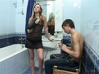 Bathroom Fishnet Russian Teen