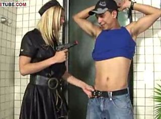 Dude's cock under police shemale's control sucks and fucks her.