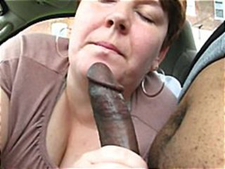 heavy older  gives this black guy a nice blowjob