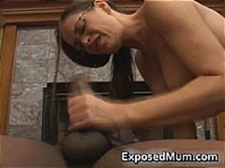 Hot Milf in glasses deepthroating black part4