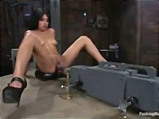Spread legs brunette fucks huge cock and vibes clit