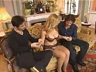 Hot and horny Euro-bimbo housewife with big boobs gets double-teamed