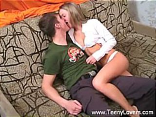 Blonde teen gets her boyfriend naked and blows and bangs him