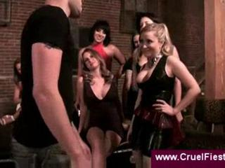 Dominant ladies whipping guy on a leash