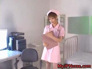 Jap nurse gets dildo penetration