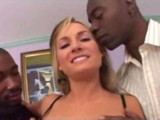 Fat ass blonde fucking with two mens